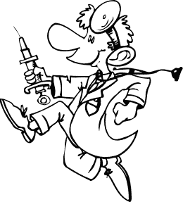 sketch of excessively happy doctor running with a hypodermic needle