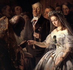 14 year old bride with lowered head and sad, helpless expression, standing next to an elderly man who peers at her as if she were a new car he was looking over.