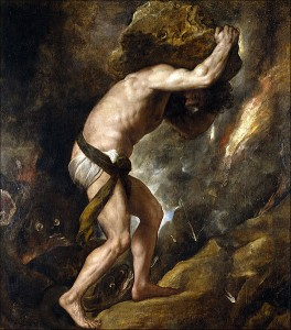 Sysiphus looking miserable as he pushes a rock up hill... with poor body mechanics.