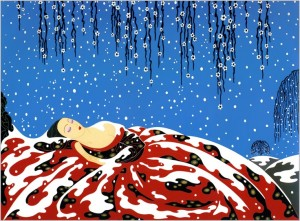 Stylized image of woman asleep with enormous red and black dress billowing around and supporting her. White snow falls from a deep blue sky