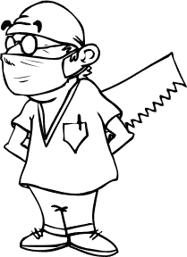cartoon of surgeon hiding a saw behind his back.