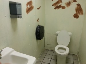 Toilet stall with graffiti covered with brown, yes, brown paint