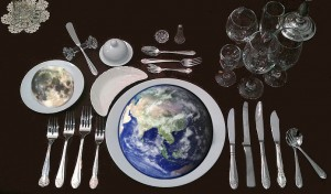 Earth with Place Setting. Photo of formal place setting from Hopefulromntic, images of Earth and Moon from NASA