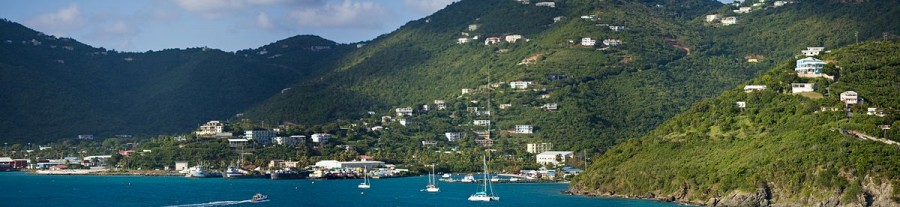 Panoramic view of Road Town harbor in the tropics