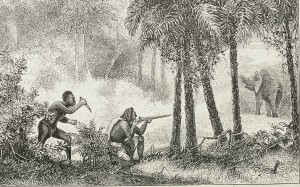 Etching of elephant in distance, man taking aim at elephant with rifle, another man preparing to stab the man with rifle.