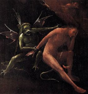 Detail of a Bosch painting. Whiskery demon holding and reaching for a misereable man.