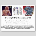 Front: three descriptive images, the center one showing the sympathetic and parasympathetic distributions, and the outer ones showing a man and woman in graphics showing what it feels like. Text below says that CRPS is systemic and research is ongoing because we still don't know the effects on all the systems involved.