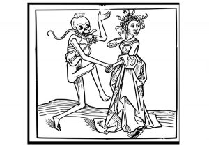 Old-timey line drawing of a skeleton with fiddle and snake dancing absurdly with a woman trying to look away.
