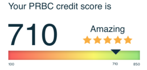 Shows PRBC credit score on a colorful slider, 710 out of 850