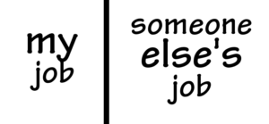 "plain white box, with a line down the middle. ""my job"" in left part, ""someone else's job"" in right part."