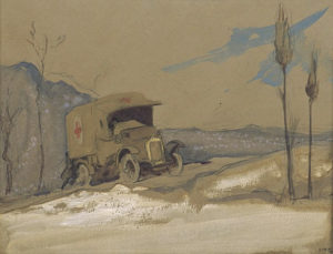 pencil and ink wash drawing of WW 1 red cross van sliding backwards off a mountain road