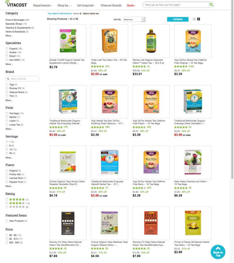 a grid view of detox teas available from vitacost dot com