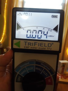 TriField Meter showing RF reading of .004