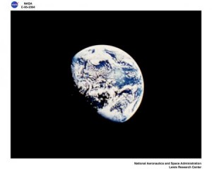 Earth seen from the moon. Earth is gibbous.