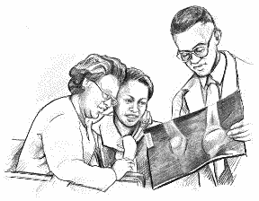 Line drawing of doctor going over an x-ray with patients.