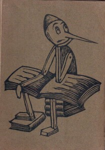 Old sketch cartoon of Pinocchio sitting on books, with a book open on his lap.